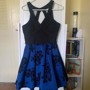PROM/HOCO blue & black floral dress